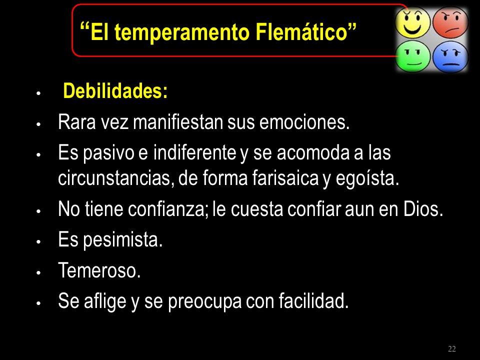 22 El temperamento Flemático Debilidades: Rara vez manifiestan sus emociones. Es pasivo e indiferente y se acomoda a las circunstancias, de forma fari