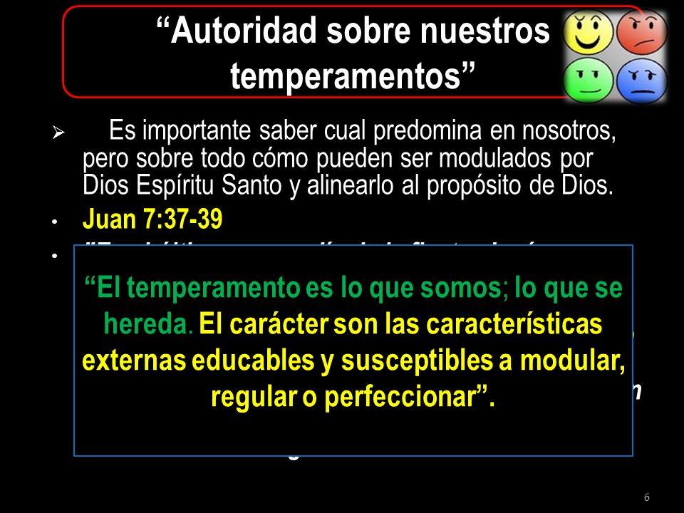 6 Autoridad sobre nuestros temperamentos Es importante saber cual predomina en nosotros, pero sobre todo cómo pueden ser modulados por Dios Espíritu S