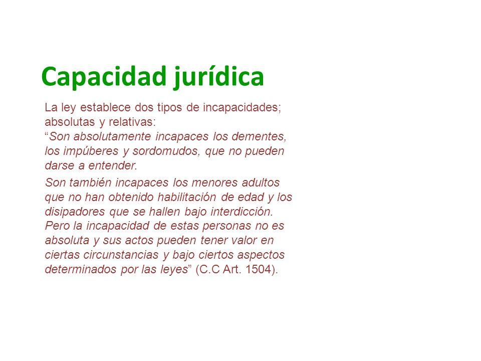 Capacidad jurídica La ley establece dos tipos de incapacidades; absolutas y relativas:Son absolutamente incapaces los dementes, los impúberes y sordom