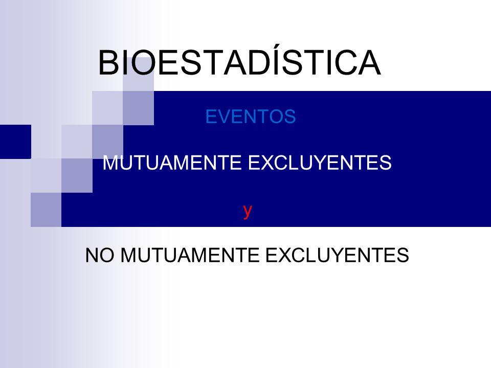 EVENTOS MUTUAMENTE EXCLUYENTES Se dice que dos o mas eventos son mutuamente excluyentes, si la ocurrencia de uno de ellos excluye la posibilidad de ocurrencia del otro.