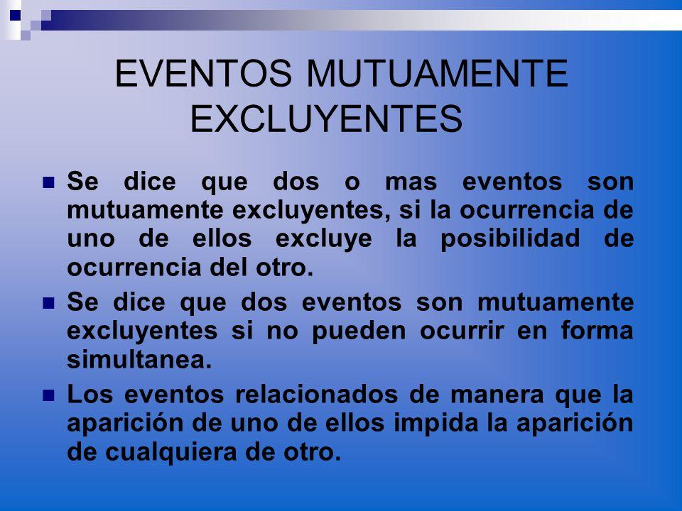 EVENTOS MUTUAMENTE EXCLUYENTES Se dice que dos o mas eventos son mutuamente excluyentes, si la ocurrencia de uno de ellos excluye la posibilidad de oc