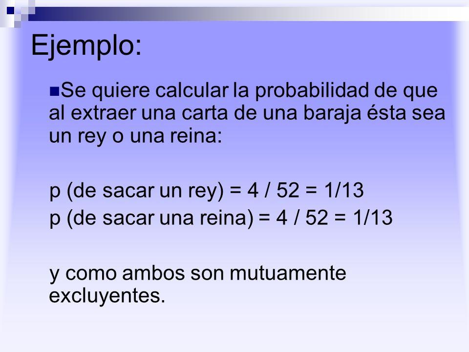 Ejemplo: Se quiere calcular la probabilidad de que al extraer una carta de una baraja ésta sea un rey o una reina: p (de sacar un rey) = 4 / 52 = 1/13