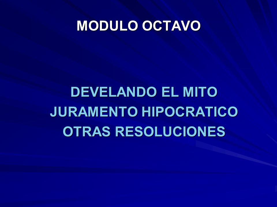 JURAMENTO HIPOCRATICO.- JURO POR APOLO MEDICO, POR ESCULAPIO, HIGEA Y PANACEA Y PONGO POR TESTIGO A TODOS LOS DIOSES Y A TODAS LAS DIO- SAS, QUE YO CON TODAS MIS FUERZAS Y PLENO CONOCIMIENTO, CUMPLIRE ENTERAMENTE ESTE JURAMENTO.