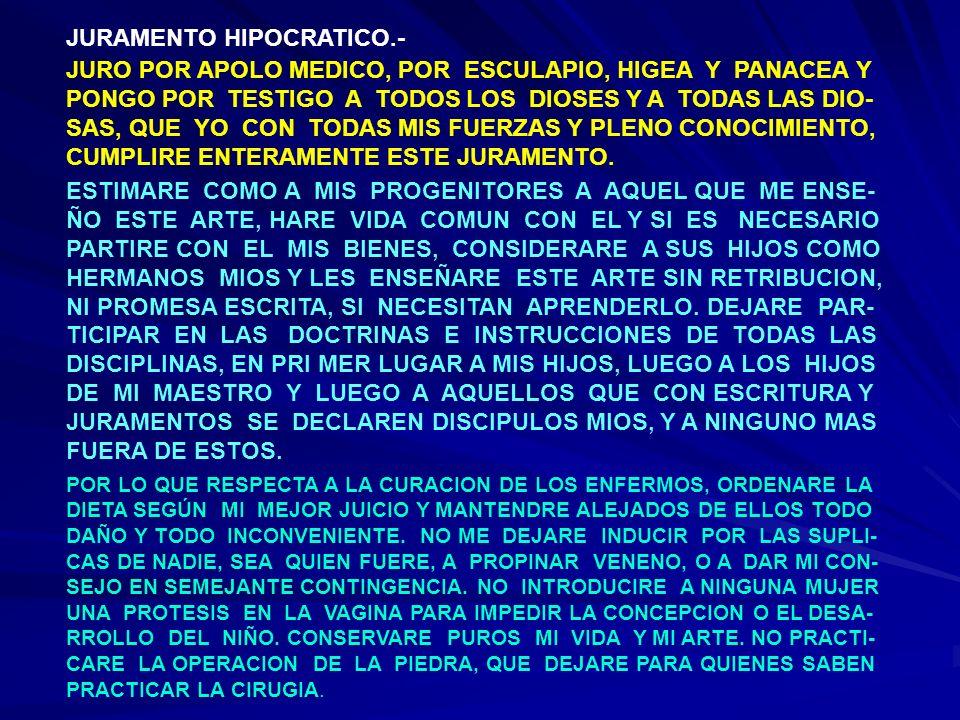 JURAMENTO HIPOCRATICO (CONTINUACION 1) EN CUALQUIER CASA QUE PENETRE, LO HARE PARA EL BIEN DE LOS ENFERMOS, EVITANDO TODO DAÑO VOLUNTARIO Y TODA ACCION IN- JUSTA; NO ME MANCHARE POR VOLUPTUOSIDAD CON CONTACTOS DE MUJERES O DE HOMBRE, DE LIBERTOS O DE ESCLAVOS.