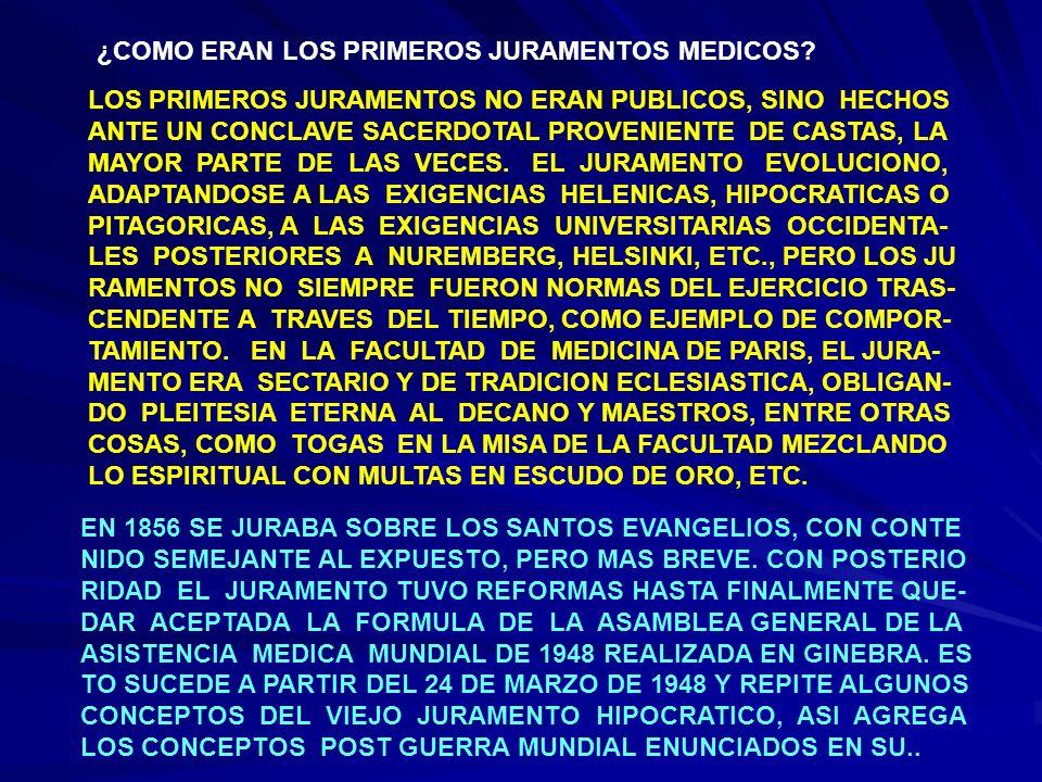 CONTINUACION ENUNCIADO EN NUREMBERG QUE EXCLUYEN AL MEDICO EN SU FUNCION DE LAS DISCRIMINACIONES RELIGIOSAS, RACIALES, SECTARIAS, DE CLASE Y LE IMPIDEN AUN BAJO PRESION, CON- TRARIAR LAS LEYES DE LA HUMANIDAD VEAMOS EL JURAMENTO: EN ACTO DEL JURAMENTO QUE VAIS A REALIZAR Y MEDIANTE EL CUAL SE OS ADMITE COMO MIEMBRO DE LA PROFESION MEDICA, CONSTITUYE UNA INVOCACION A DIOS O A AQUELLO QUE CADA CUAL CONSIDERE COMO MAS ALTO Y SAGRADO EN SU FUERO MO RAL, COMO TESTIMONIO DEL COMPROMISO QUE CONTRAEIS PARA SIEMPRE JAMAS.