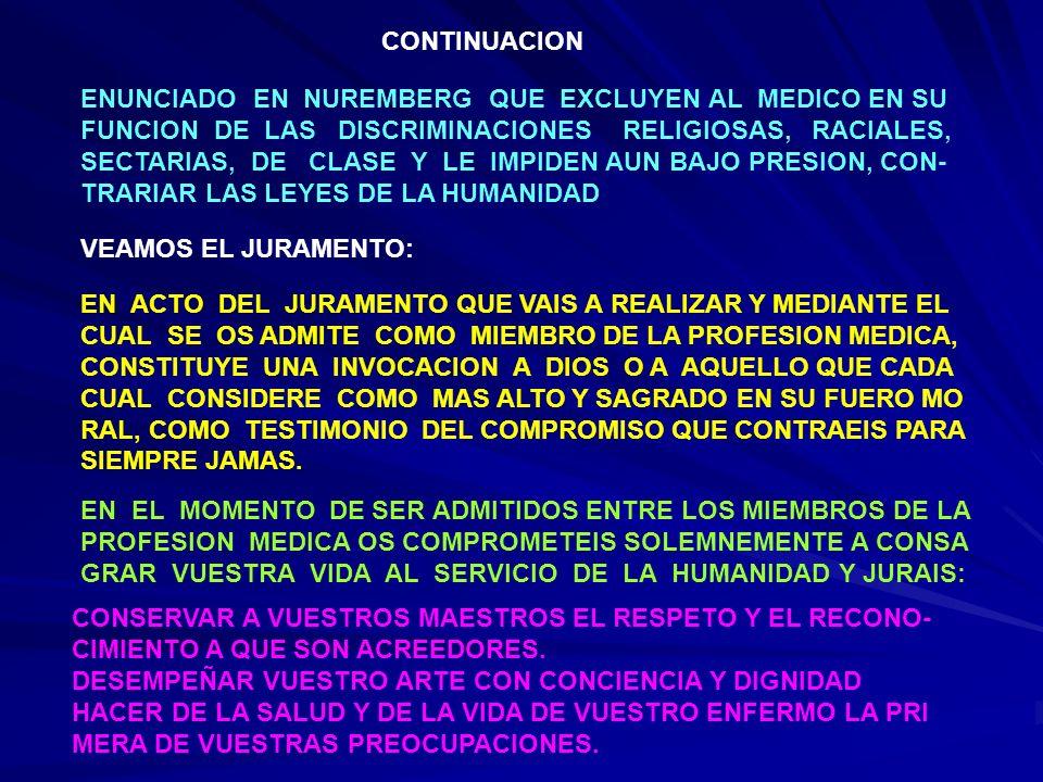 CONTINUACION 2 RESPETAR EL SECRETO DE QUIEN OS HAYA CONFIADO A VUESTRO CUIDADO MANTENER EN LA MAXIMA MEDIDA DE VUESTRO MEDIO EL HONOR Y LAS NOBLES TRADICIONES DE LA PROFESION MEDICA CONSIDERAR A LOS COLAGAS COMO HERMANOS NO PERMITIR JAMAS QUE ENTRE EL DEBER Y EL ENFERMO SE INTER PONGAN CONSIDERACIONES DE RELIGION, DE NACIONALIDAD, DE RAZA, DE PARTIDO, DE CLASE.