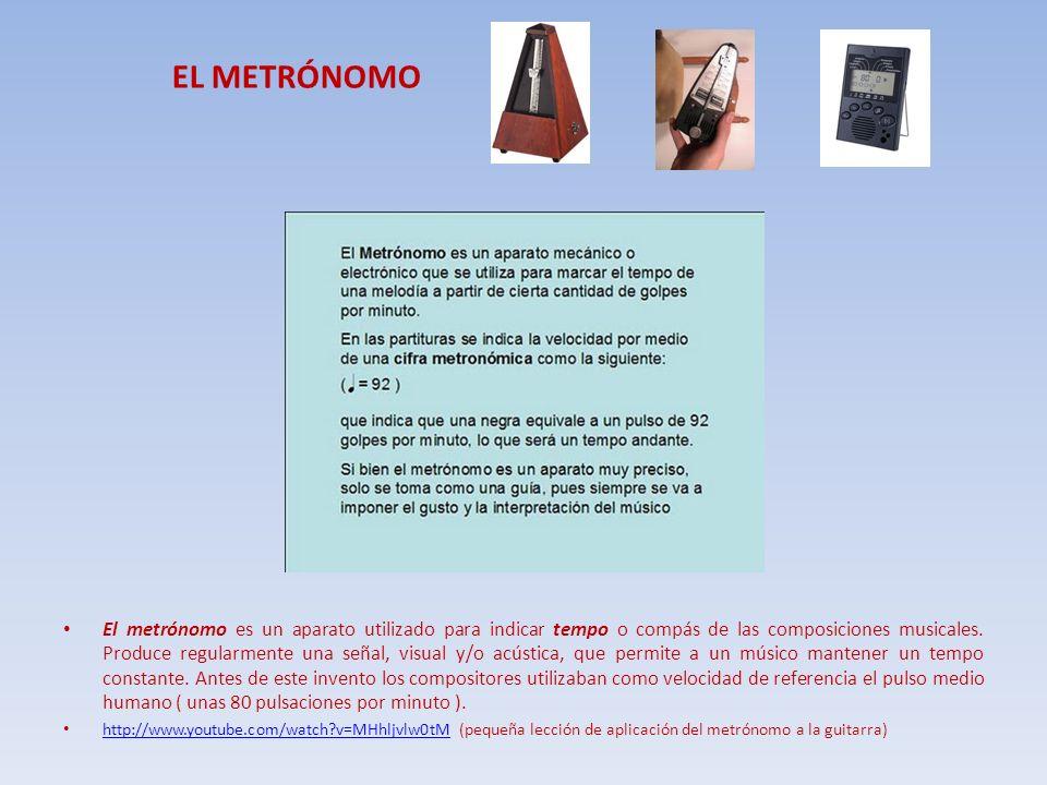EL METRÓNOMO El metrónomo es un aparato utilizado para indicar tempo o compás de las composiciones musicales. Produce regularmente una señal, visual y