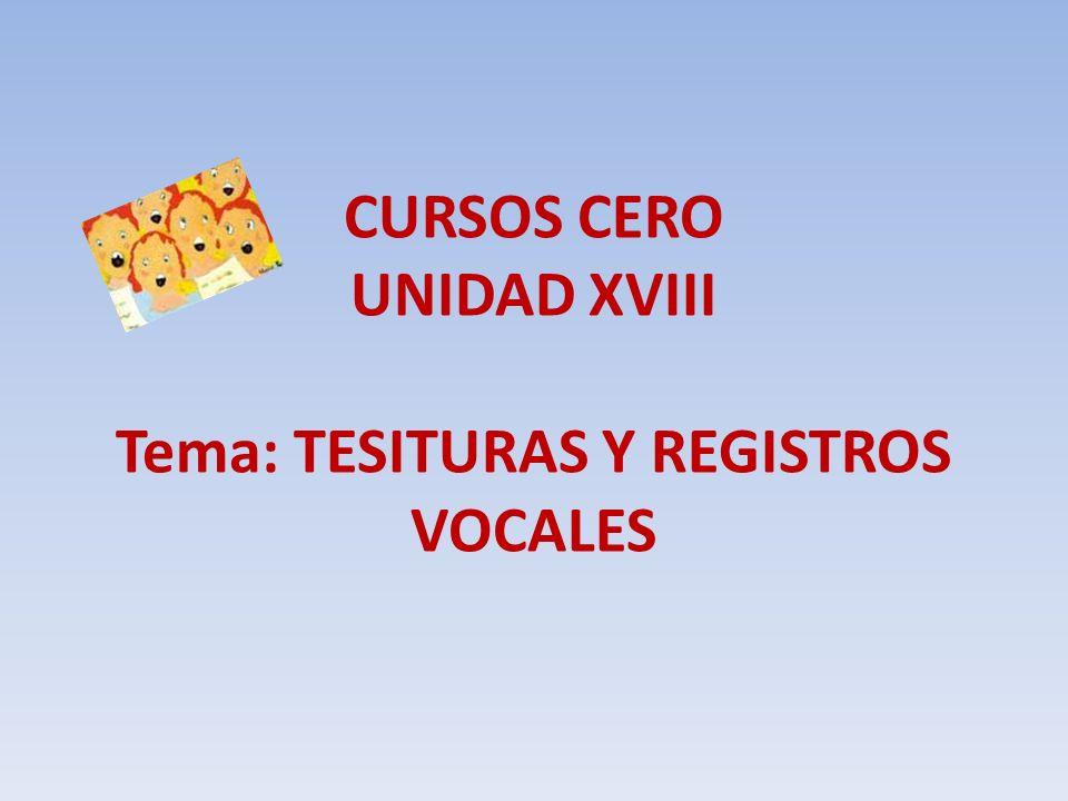 CURSOS CERO UNIDAD XVIII Tema: TESITURAS Y REGISTROS VOCALES