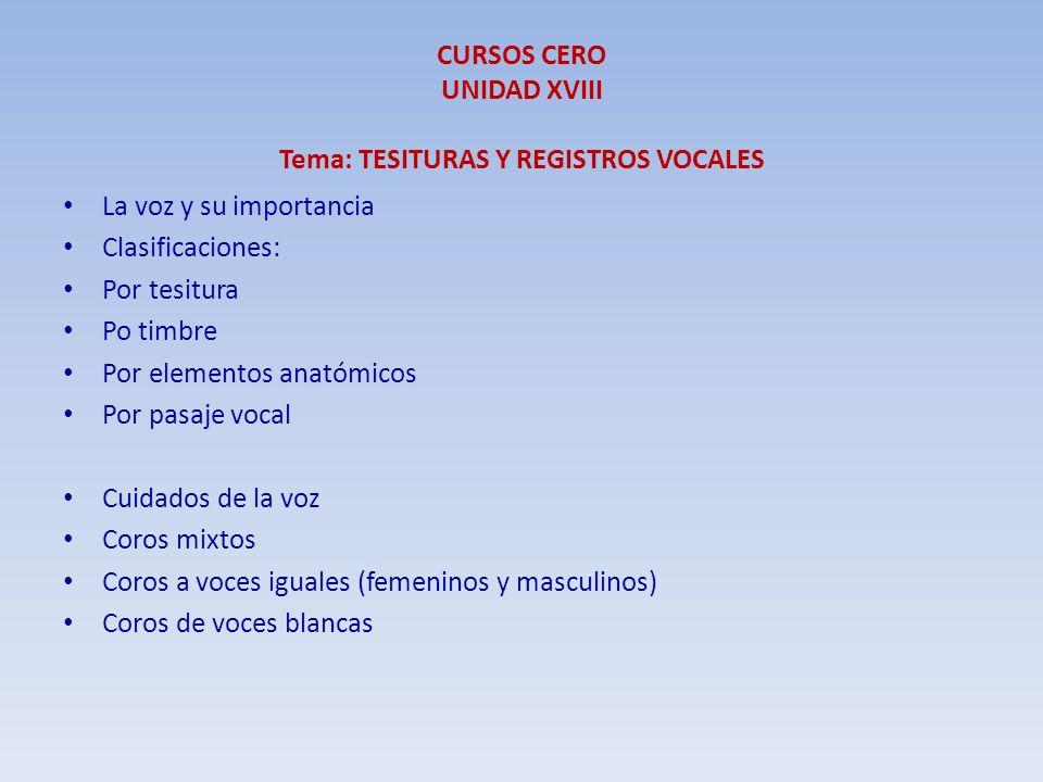 La voz y su importancia Clasificaciones: Por tesitura Po timbre Por elementos anatómicos Por pasaje vocal Cuidados de la voz Coros mixtos Coros a voce