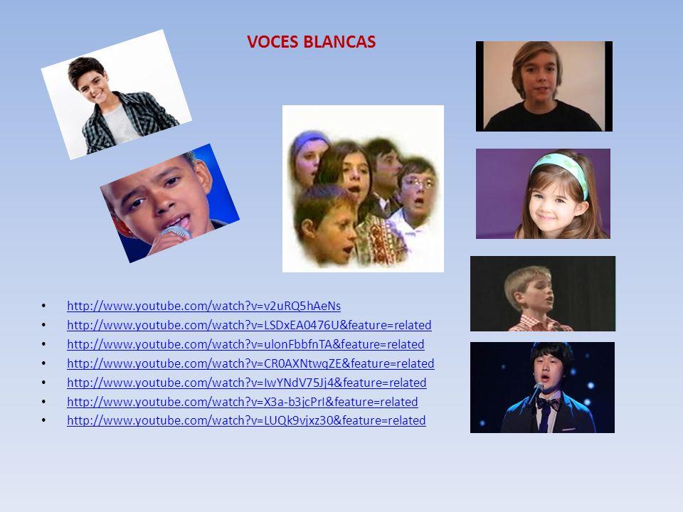 VOCES BLANCAS http://www.youtube.com/watch?v=v2uRQ5hAeNs http://www.youtube.com/watch?v=LSDxEA0476U&feature=related http://www.youtube.com/watch?v=ulo