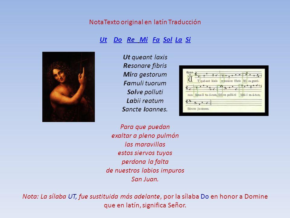 NotaTexto original en latín Traducción Ut Do Re Mi Fa Sol La Si Ut queant laxis Resonare fibris Mira gestorum Famuli tuorum Solve polluti Labii reatum