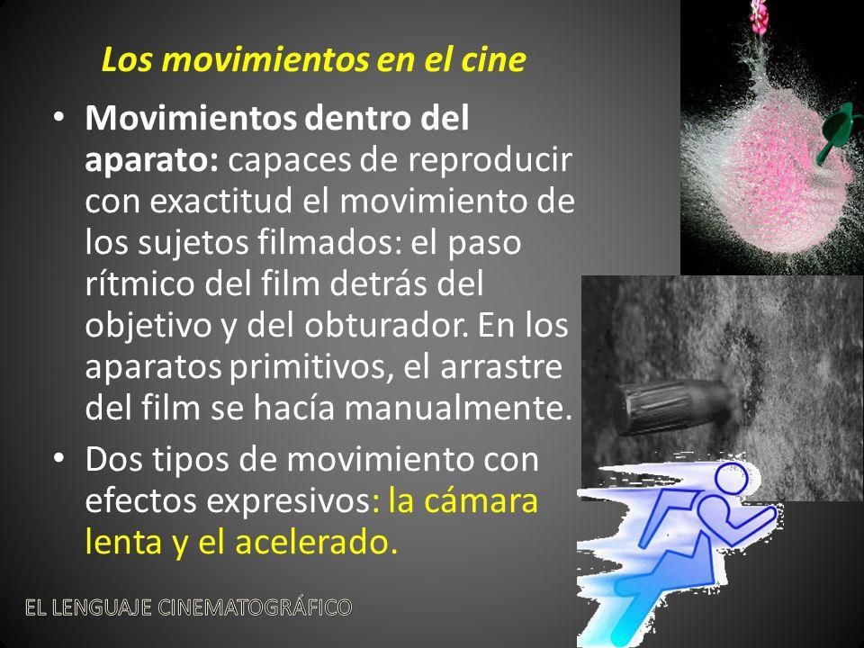 Movimientos dentro del aparato: capaces de reproducir con exactitud el movimiento de los sujetos filmados: el paso rítmico del film detrás del objetivo y del obturador.