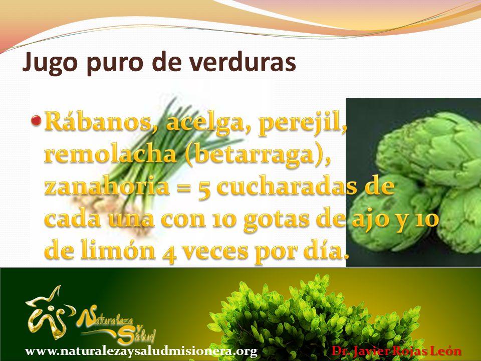 Jugo puro de verduras Dr. Javier Rojas León www.naturalezaysaludmisionera.org