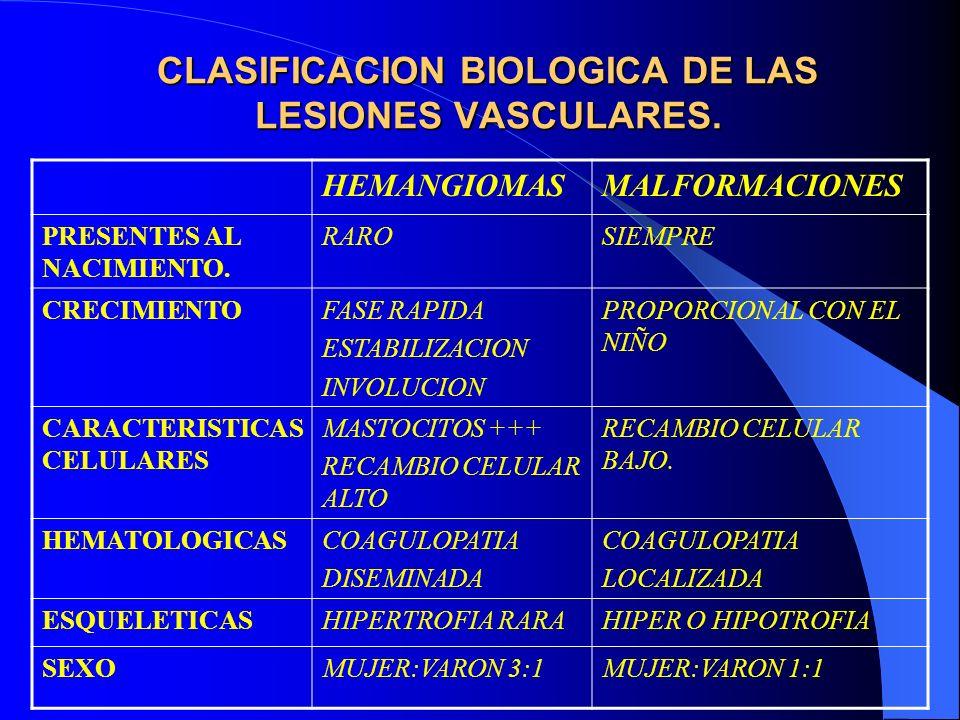 CLASIFICACION BIOLOGICA DE LAS LESIONES VASCULARES. HEMANGIOMASMALFORMACIONES PRESENTES AL NACIMIENTO. RAROSIEMPRE CRECIMIENTOFASE RAPIDA ESTABILIZACI