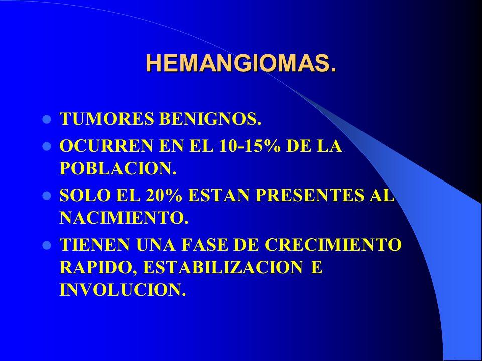 HEMANGIOMAS TRATAMIENTO: PREDNISONA 2-4MG POR KILO POR DIA.