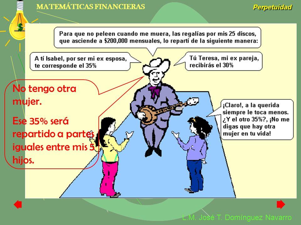 MATEMÁTICAS FINANCIERAS Perpetuidad L.M. José T. Domínguez Navarro No tengo otra mujer. Ese 35% será repartido a partes iguales entre mis 5 hijos.