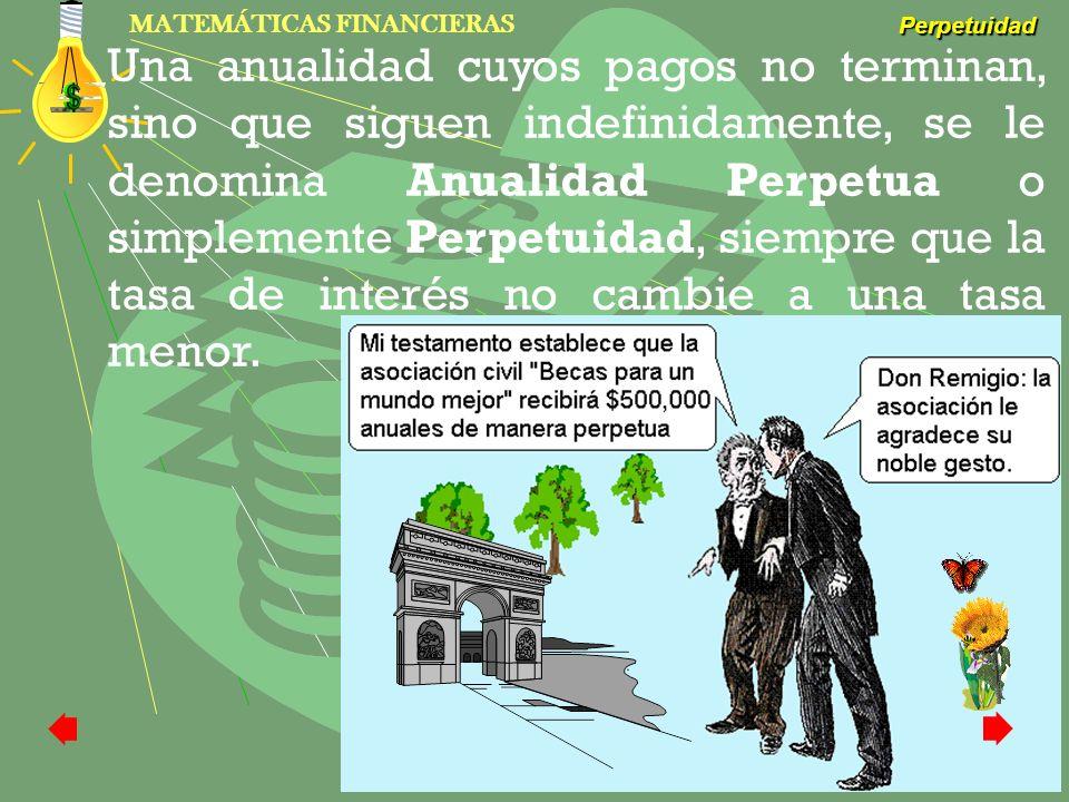 MATEMÁTICAS FINANCIERAS Perpetuidad L.M. José T. Domínguez Navarro Una anualidad cuyos pagos no terminan, sino que siguen indefinidamente, se le denom