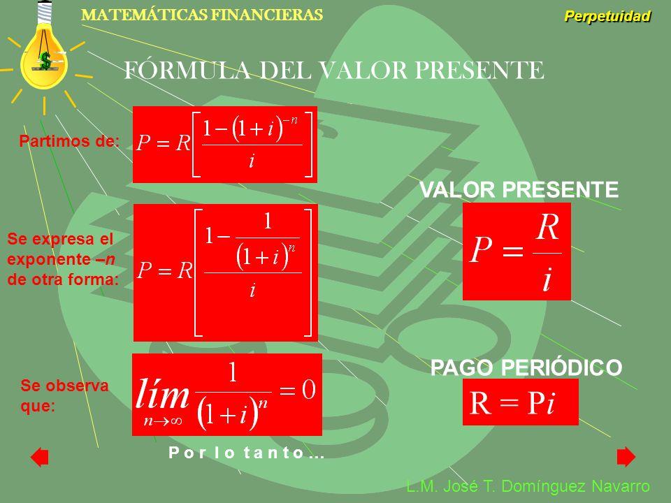 MATEMÁTICAS FINANCIERAS Perpetuidad L.M. José T. Domínguez Navarro FÓRMULA DEL VALOR PRESENTE R = Pi VALOR PRESENTE PAGO PERIÓDICO Partimos de: Se exp