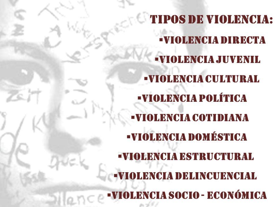 TIPOS DE VIOLENCIA: Violencia directa VIOLENCIA ESTRUCTURAL VIOLENCIA CULTURAL VIOLENCIA JUVENIL VIOLENCIA DOMÉSTICA VIOLENCIA COTIDIANA VIOLENCIA POL