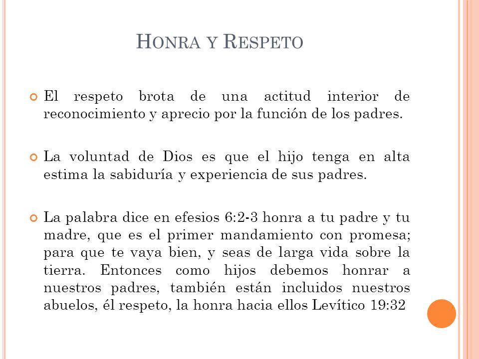 H ONRA Y R ESPETO El respeto brota de una actitud interior de reconocimiento y aprecio por la función de los padres. La voluntad de Dios es que el hij