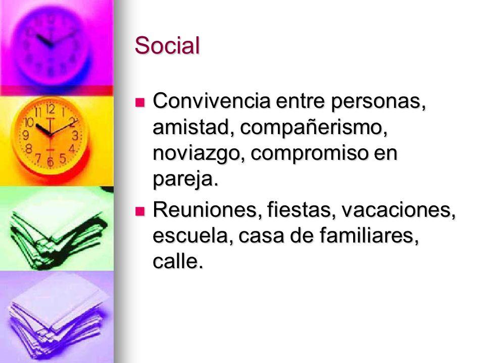 Social Convivencia entre personas, amistad, compañerismo, noviazgo, compromiso en pareja.