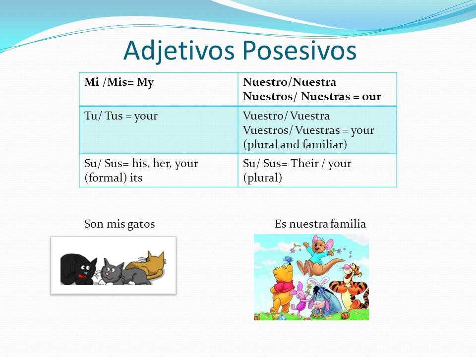 Adjetivos Posesivos Mi /Mis= MyNuestro/Nuestra Nuestros/ Nuestras = our Tu/ Tus = yourVuestro/ Vuestra Vuestros/ Vuestras = your (plural and familiar) Su/ Sus= his, her, your (formal) its Su/ Sus= Their / your (plural) Son mis gatos Es nuestra familia
