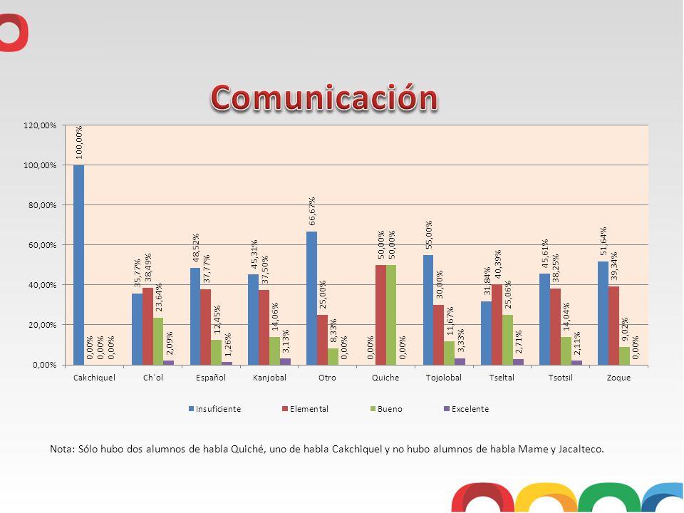 Nota: Sólo hubo dos alumnos de habla Quiché, uno de habla Cakchiquel y no hubo alumnos de habla Mame y Jacalteco.