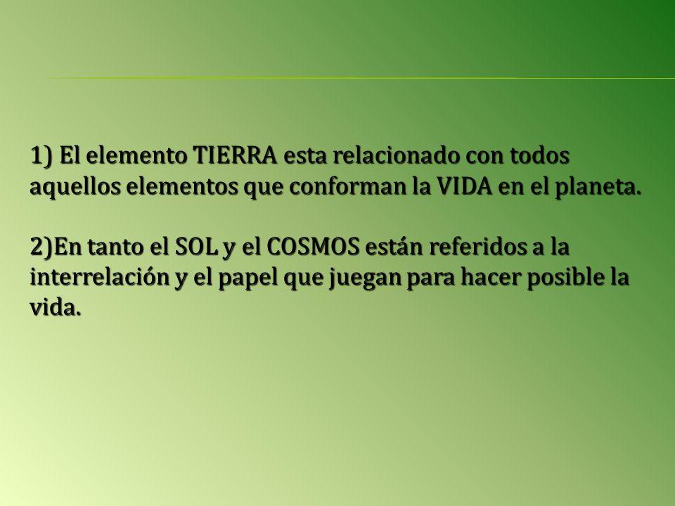 1) El elemento TIERRA esta relacionado con todos aquellos elementos que conforman la VIDA en el planeta.