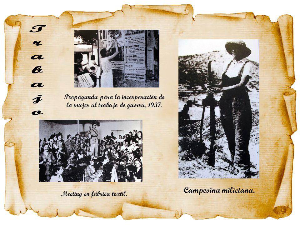 Campesina miliciana. Meeting en fábrica textil. Propaganda para la incorporación de la mujer al trabajo de guerra, 1937.