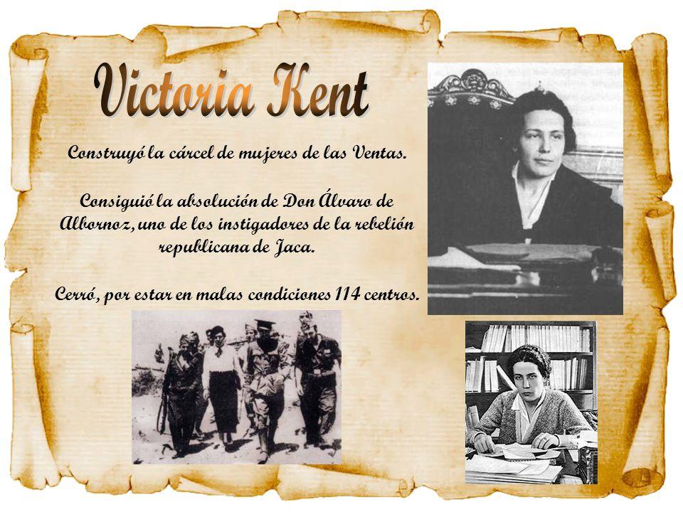 Construyó la cárcel de mujeres de las Ventas. Consiguió la absolución de Don Álvaro de Albornoz, uno de los instigadores de la rebelión republicana de