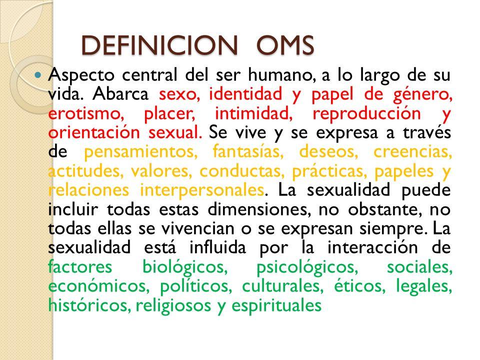 DEFINICION OMS Aspecto central del ser humano, a lo largo de su vida. Abarca sexo, identidad y papel de género, erotismo, placer, intimidad, reproducc