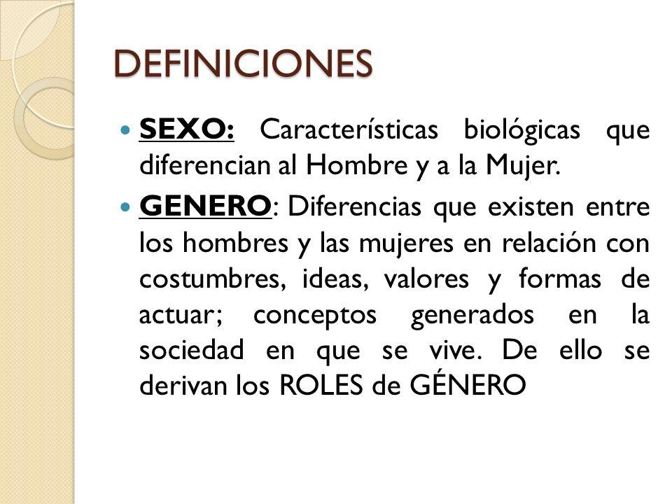 DEFINICIONES SEXO: Características biológicas que diferencian al Hombre y a la Mujer. GENERO: Diferencias que existen entre los hombres y las mujeres