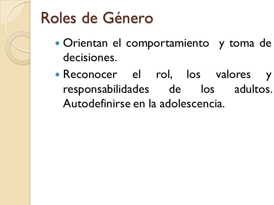 Roles de Género Orientan el comportamiento y toma de decisiones. Reconocer el rol, los valores y responsabilidades de los adultos. Autodefinirse en la