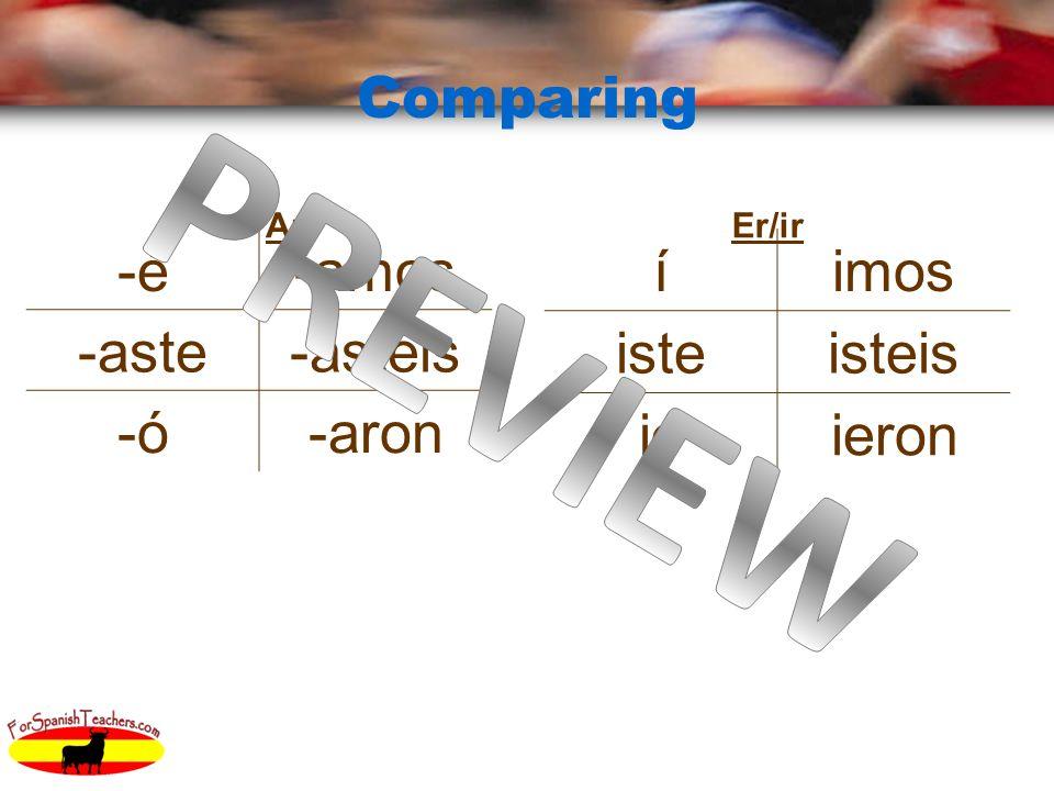 Comparing ArEr/ir íimos isteisteis ióieron -é-amos -aste-asteis -ó-aron