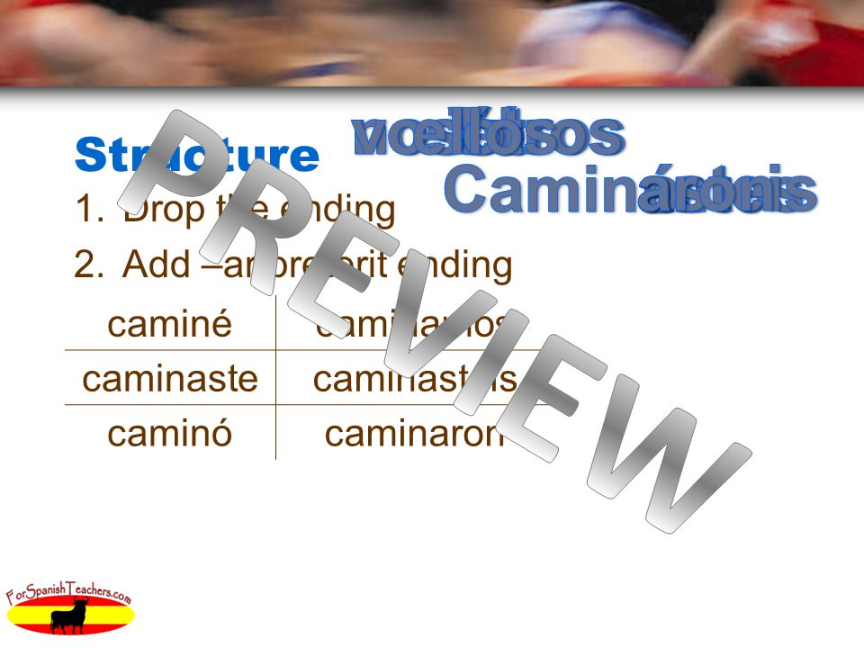 Structure 1.Drop the ending 2.Add –ar preterit ending caminécaminamos caminastecaminasteis caminócaminaron
