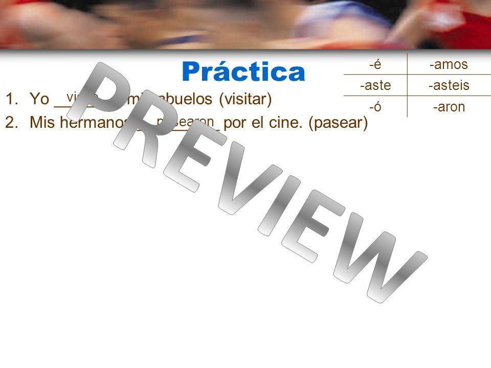 Er/ir verbos en el pretérito Dont ER in these practices