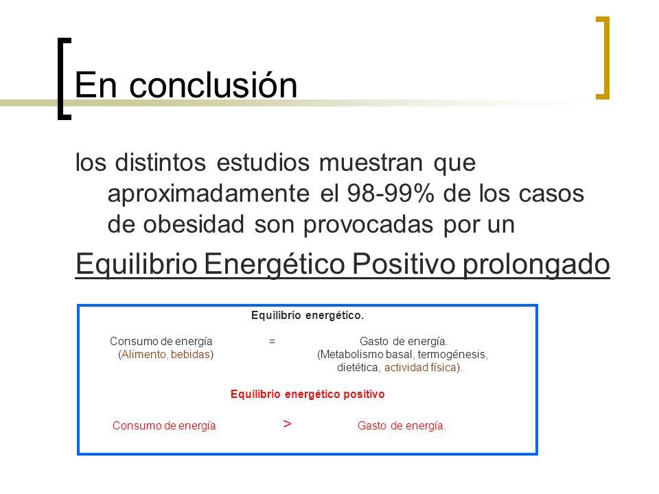En conclusión los distintos estudios muestran que aproximadamente el 98-99% de los casos de obesidad son provocadas por un Equilibrio Energético Positivo prolongado Equilibrio energético.