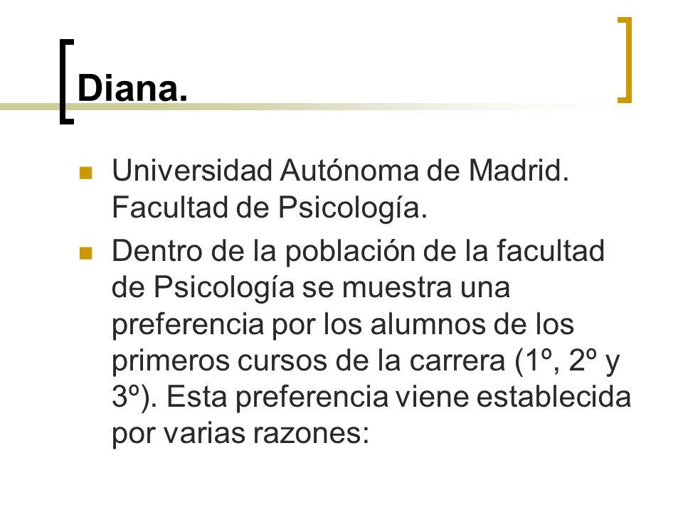 Diana. Universidad Autónoma de Madrid. Facultad de Psicología. Dentro de la población de la facultad de Psicología se muestra una preferencia por los