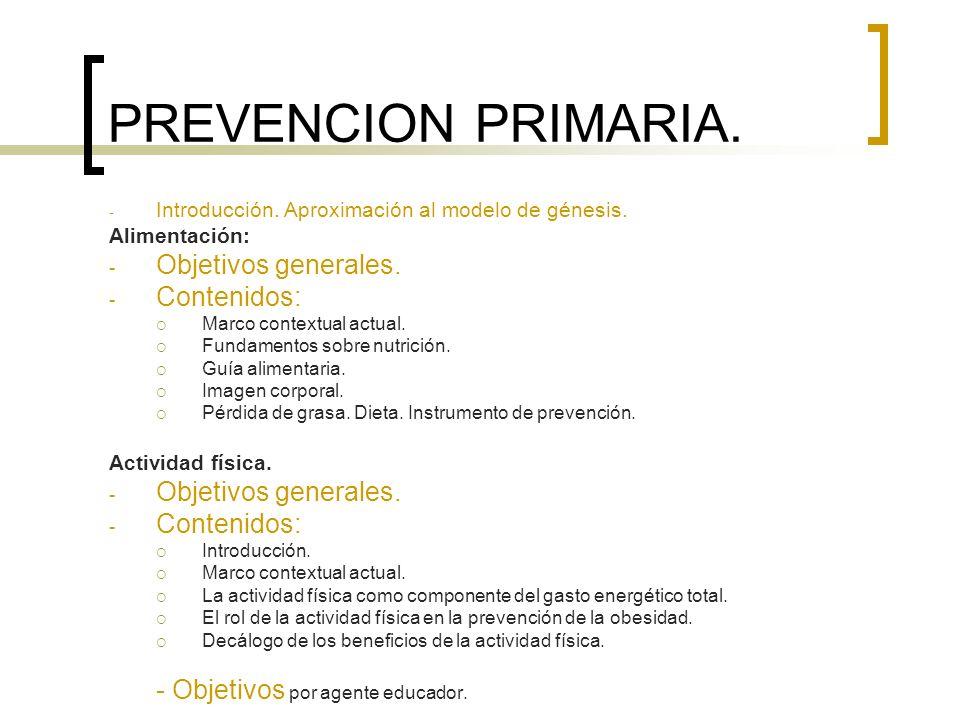 PREVENCION PRIMARIA. - Introducción. Aproximación al modelo de génesis. Alimentación: - Objetivos generales. - Contenidos: Marco contextual actual. Fu