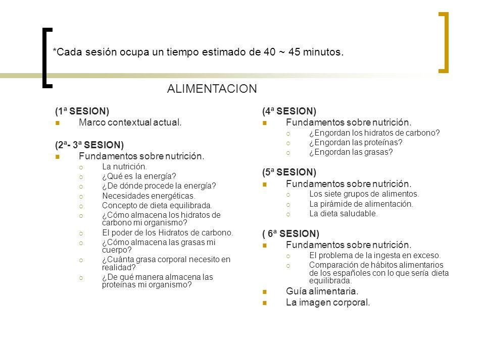*Cada sesión ocupa un tiempo estimado de 40 ~ 45 minutos. (1ª SESION) Marco contextual actual. (2ª- 3ª SESION) Fundamentos sobre nutrición. La nutrici
