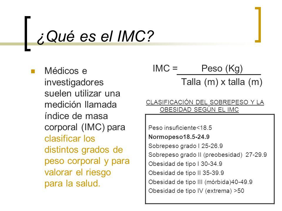 ¿Qué es el IMC? Médicos e investigadores suelen utilizar una medición llamada índice de masa corporal (IMC) para clasificar los distintos grados de pe