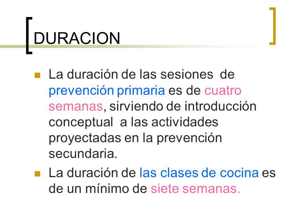 DURACION La duración de las sesiones de prevención primaria es de cuatro semanas, sirviendo de introducción conceptual a las actividades proyectadas en la prevención secundaria.