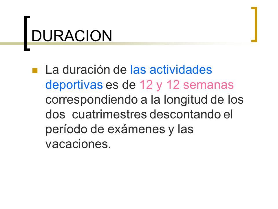 DURACION La duración de las actividades deportivas es de 12 y 12 semanas correspondiendo a la longitud de los dos cuatrimestres descontando el período de exámenes y las vacaciones.