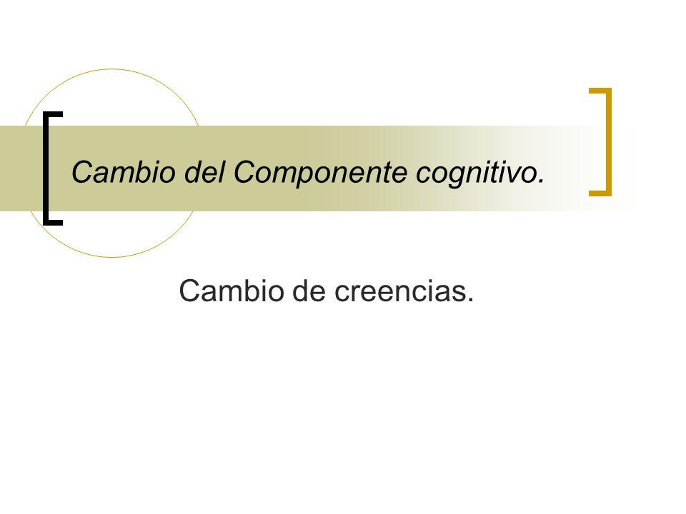 Cambio del Componente cognitivo. Cambio de creencias.