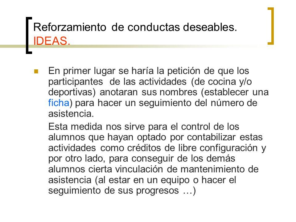 Reforzamiento de conductas deseables. IDEAS. En primer lugar se haría la petición de que los participantes de las actividades (de cocina y/o deportiva
