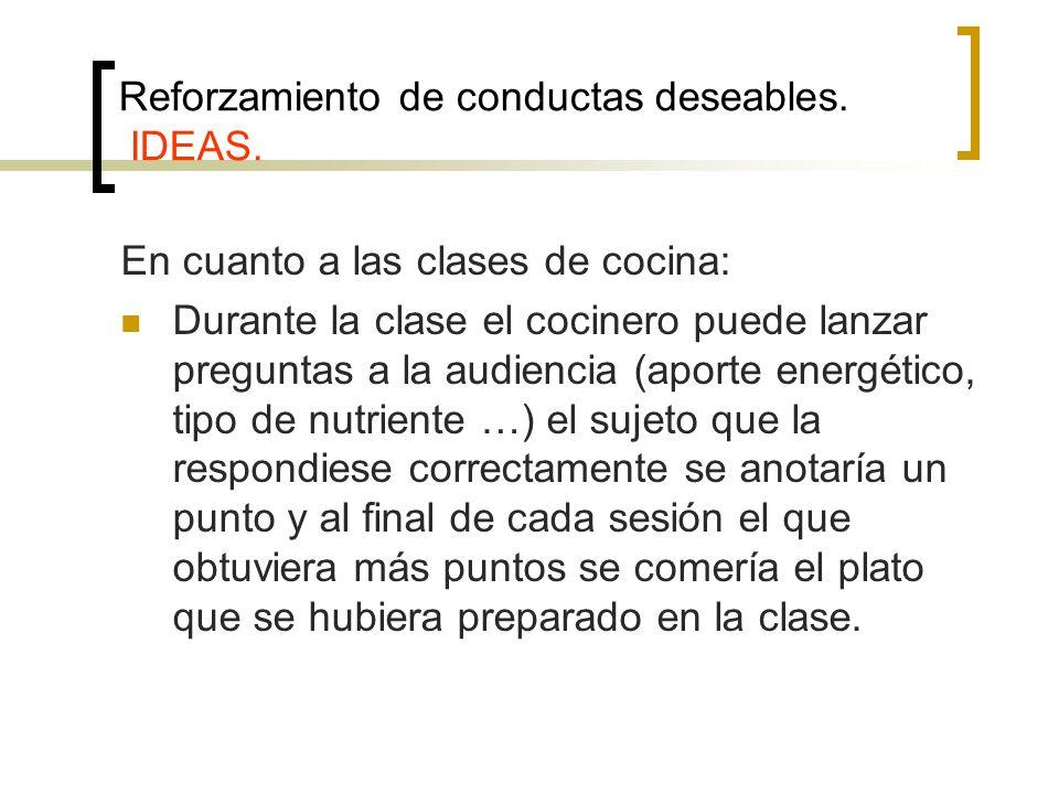 Reforzamiento de conductas deseables. IDEAS. En cuanto a las clases de cocina: Durante la clase el cocinero puede lanzar preguntas a la audiencia (apo