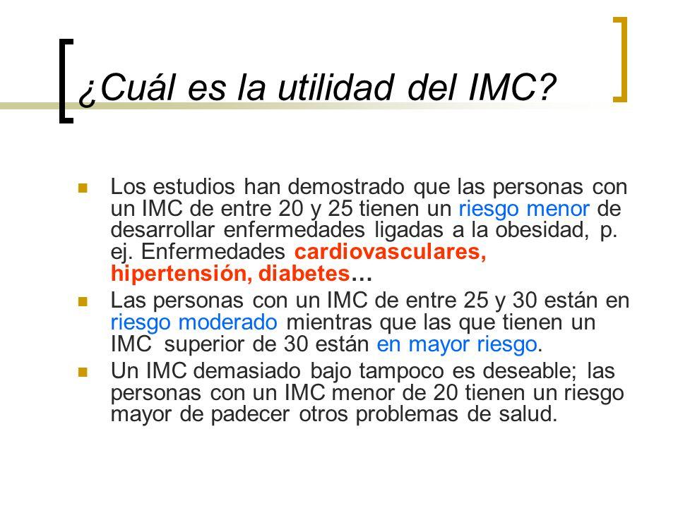 ¿Cuál es la utilidad del IMC? Los estudios han demostrado que las personas con un IMC de entre 20 y 25 tienen un riesgo menor de desarrollar enfermeda