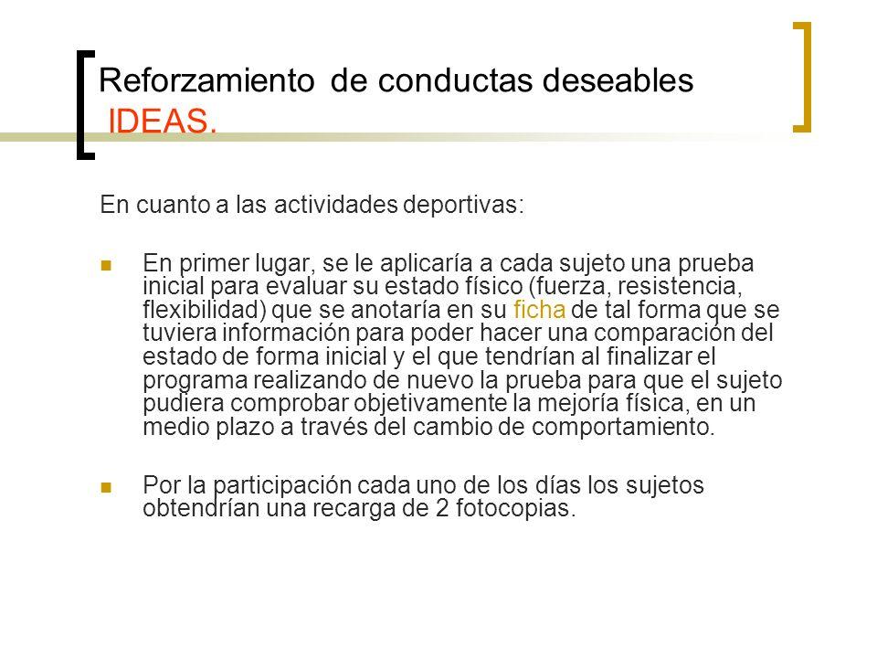 Reforzamiento de conductas deseables IDEAS. En cuanto a las actividades deportivas: En primer lugar, se le aplicaría a cada sujeto una prueba inicial