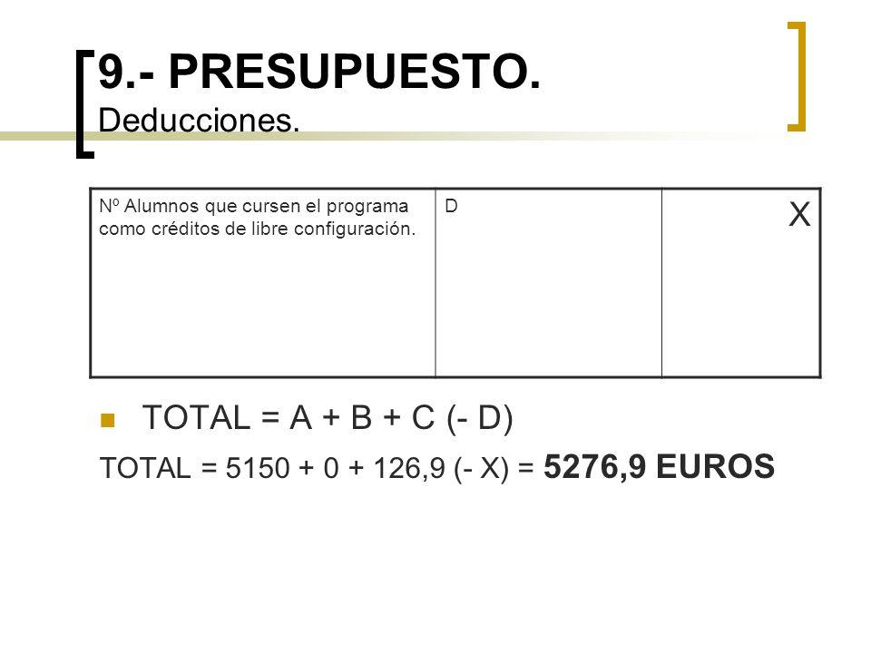 9.- PRESUPUESTO. Deducciones. Nº Alumnos que cursen el programa como créditos de libre configuración. D X TOTAL = A + B + C (- D) TOTAL = 5150 + 0 + 1