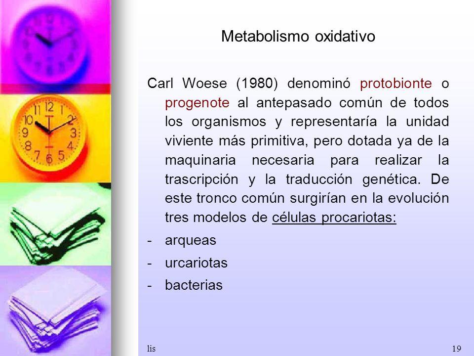 lis19 Metabolismo oxidativo Carl Woese (1980) denominó protobionte o progenote al antepasado común de todos los organismos y representaría la unidad v